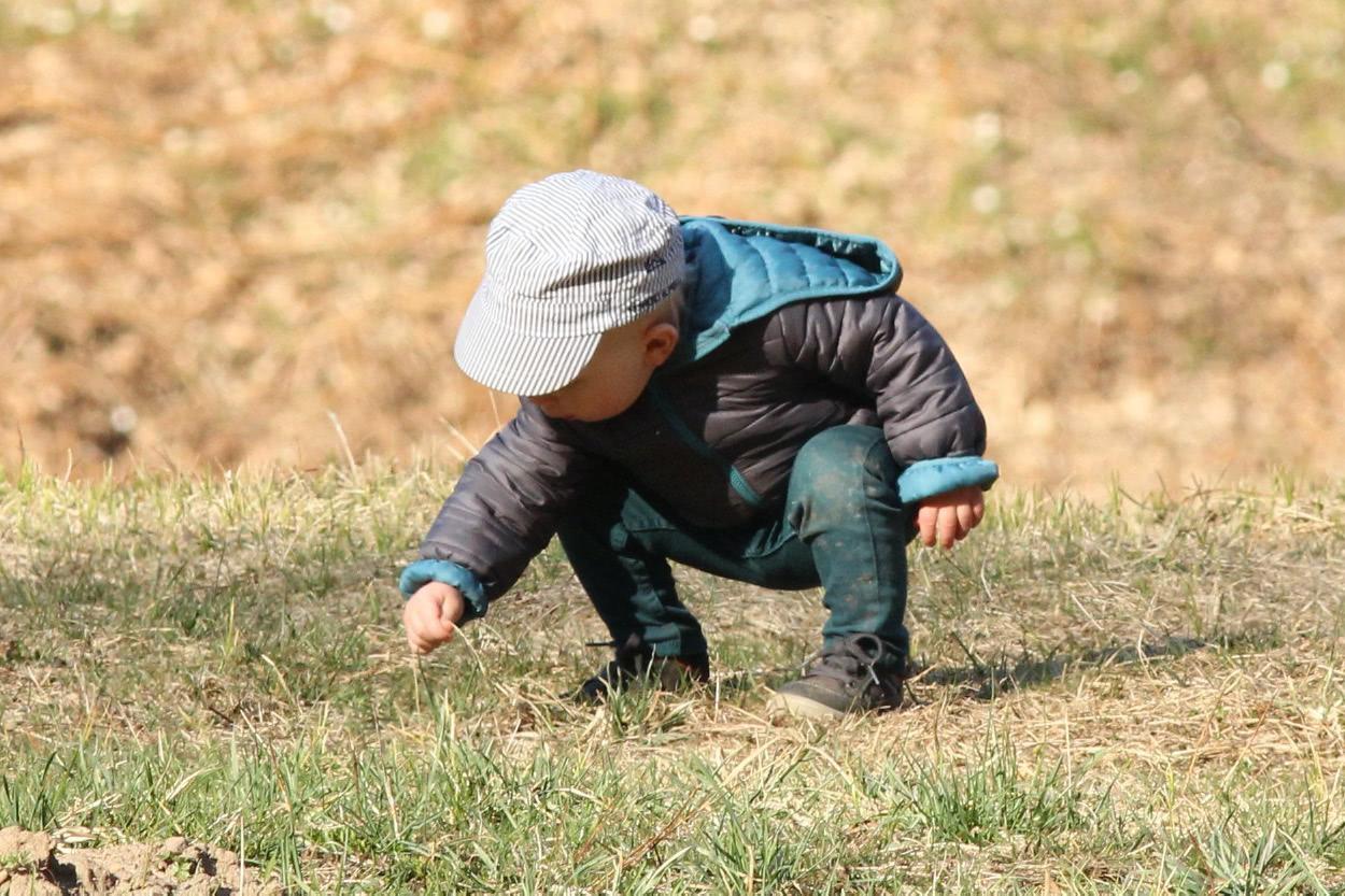Kleiner Junge untersucht Boden